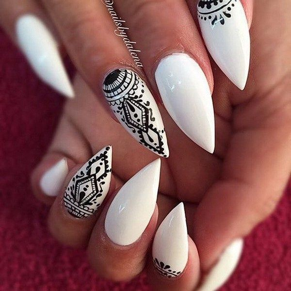 30 Stylish Black & White Nail Art Designs | Almond nails designs .