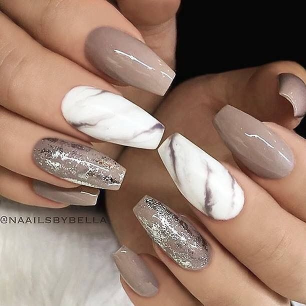 Creative mismatched glitter and marble nail art design ideas .