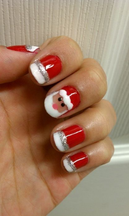 Super Cute Festive Christmas Nails (With images) | Santa nails .