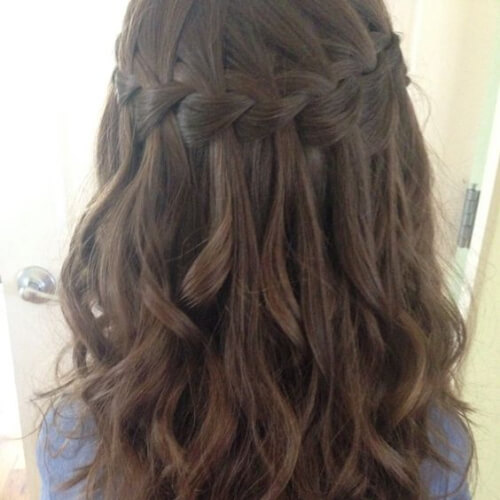 50 Free Flowing & Captivating Waterfall Braid with Curls | Hair .
