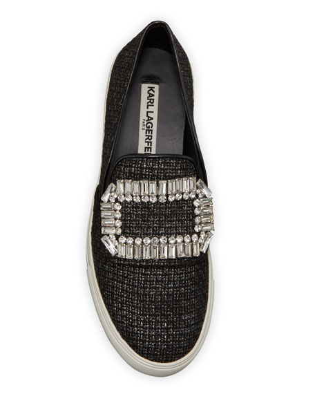 Karl Lagerfeld Paris Ermine Crystal Embellished Slip-On Sneake