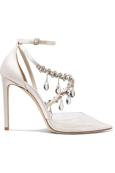 Off-White - C/O Jimmy Choo Victoria 100 crystal-embellished satin .