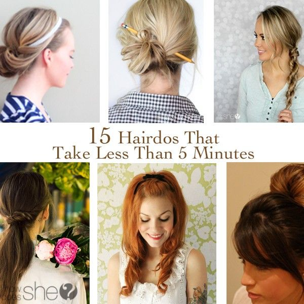 15 Hairdos That Take Less Than 5 Minutes | Long hair styles, Hair .