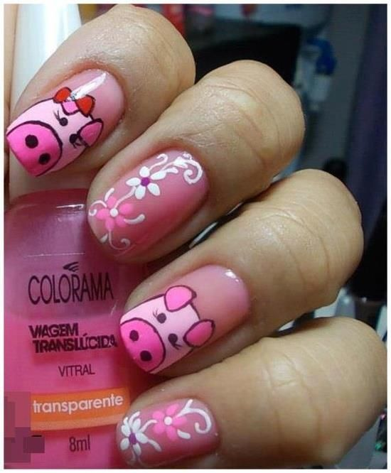 Cute Pig Nails for Girls