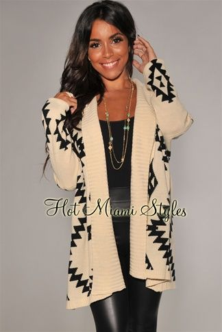 Cream Black Aztec Print Sweater Cardigan | Casual fall outfits .