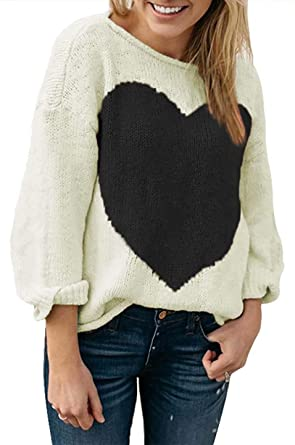 Amazon.com: Women's Cute Heart Print Sweater Knitted Long Sleeve .