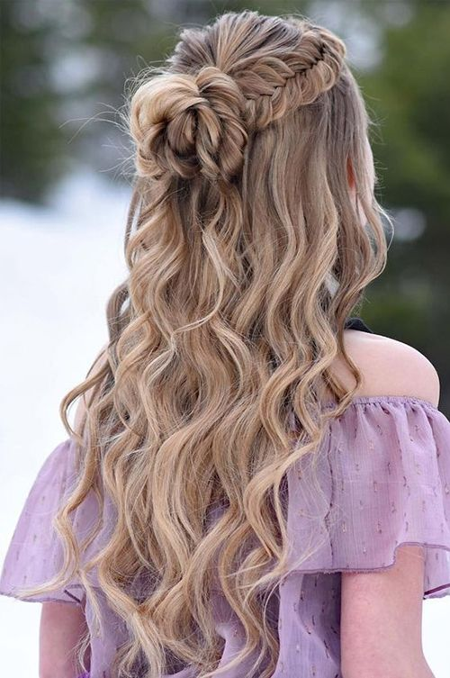 Most Demanded Half Up Half Down Long Wavy Prom Hairstyles To .