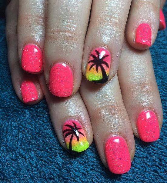 Hot Trendy Nail Art Designs that You Will Love | Palm tree nails .