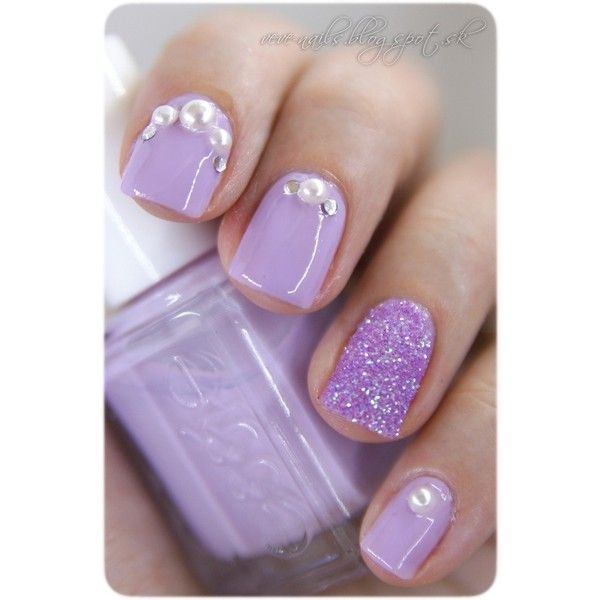 18 Delicate Embellished Nails for This Summer via Polyvore .