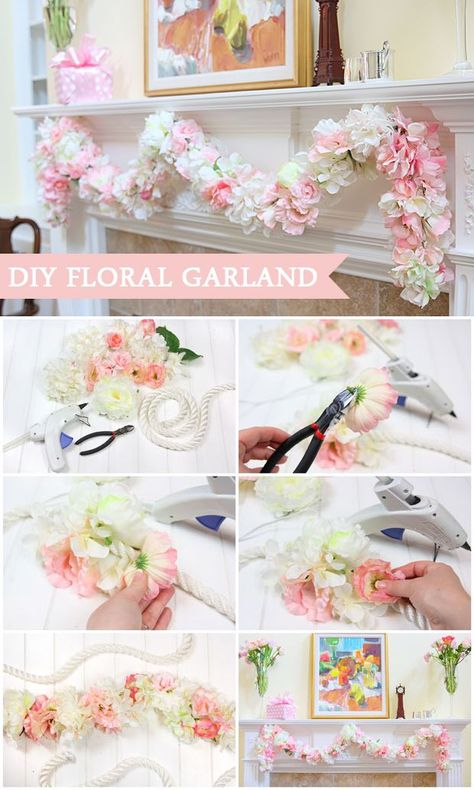 12 DIY Floral Garland Projects for Your Home | Baby shower garland .
