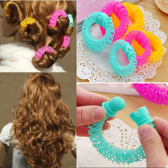 Online Shop 8Pcs Plastic Magic Hair Curlers Rollers Circle .