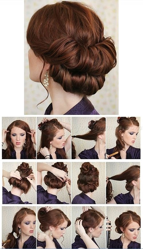 step by step hairstyle tutorials - double chignon step by step .
