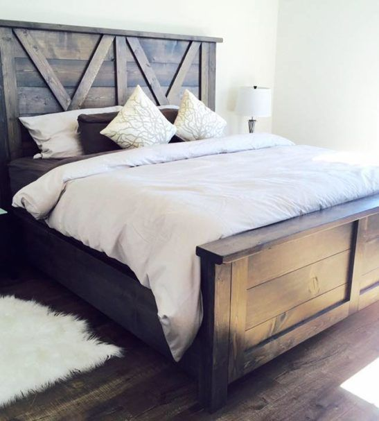 Barn Door Farmhouse Bed | Home decor bedroom, Home bedroom, Rustic .
