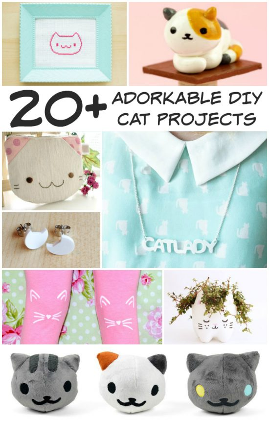 20+ FREE Adorkable DIY Cat Projects - Stitch and Pi