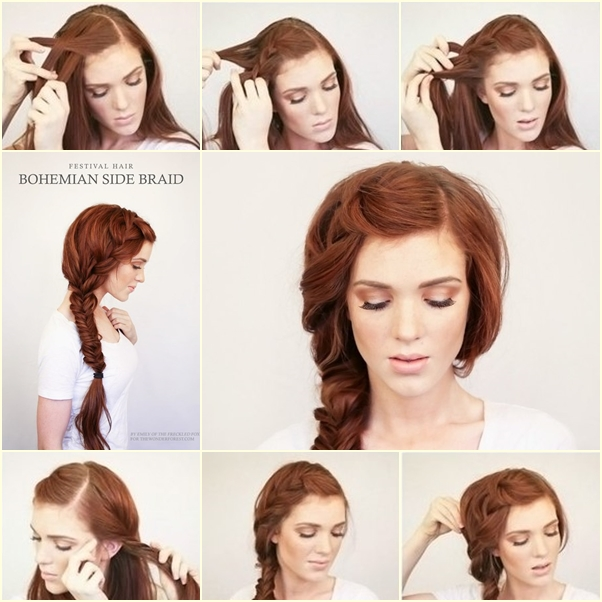 DIY Bohemian Side Braid Hairstyle - DIY Tutoria