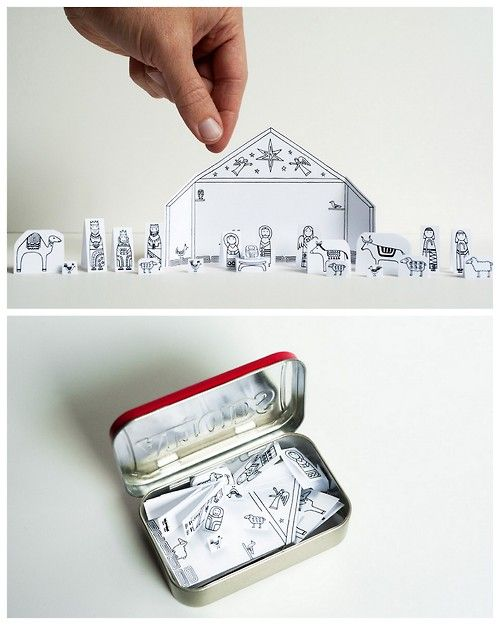 DIY Traveling Altoids TIn Printable Nativity Scene from Made by .