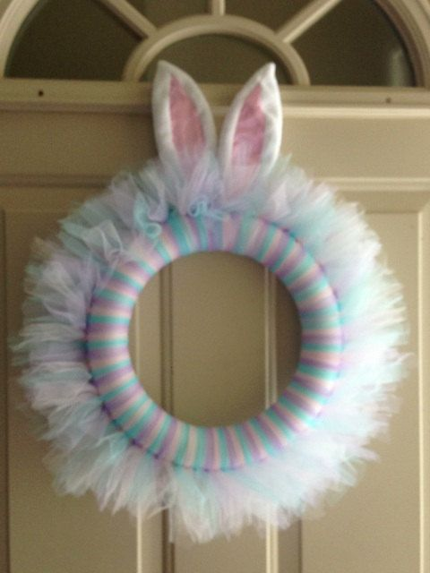 Easter wreath with bunny ears on Etsy, $25.00 | Easter wreaths .