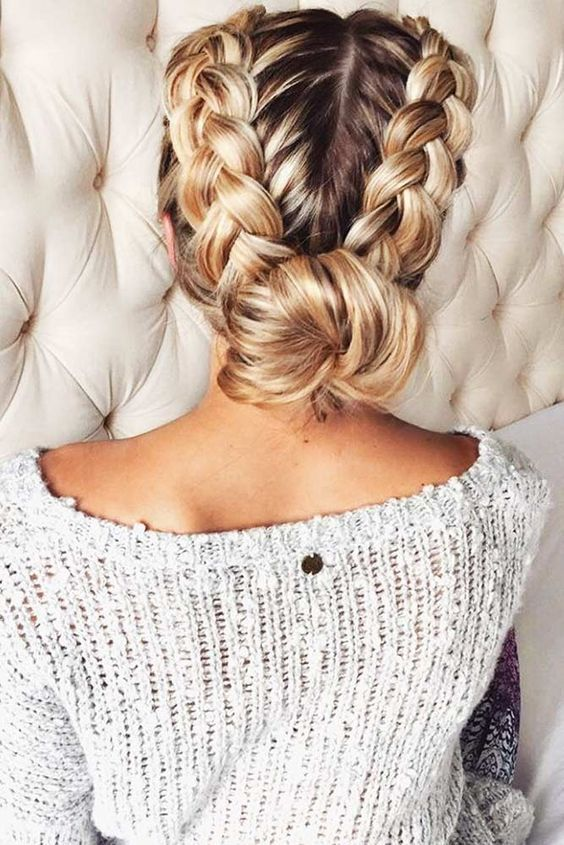 Picture Of a double braid updo with a low bun will last as long as .