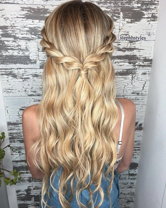 Braid half up half down hairstyle ideas,prom hairstyles,half up .
