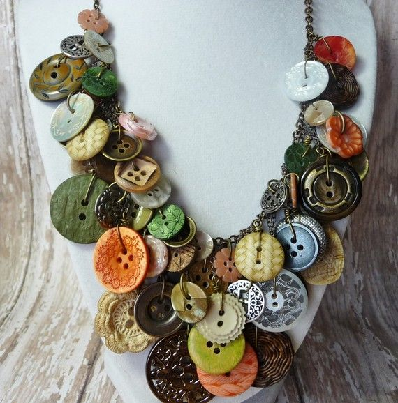 Bountiful Buttons - Vintage Button Necklace,Statement,AWARD .