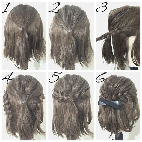 Half-Up Hairstyles for Short Hair #2 | Simple prom hair, Short .