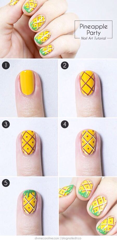 25 Simple Nail Art Tutorials For Beginners | Fruit nail art, Diy .