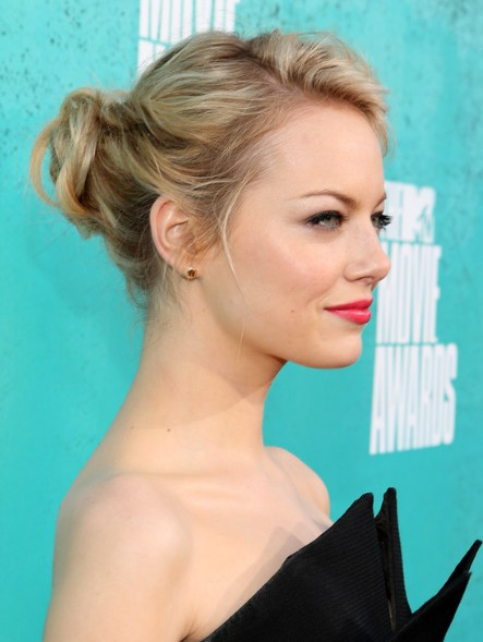 Emma Stone Updo Hairstyles for Medium Hair - PoPular Haircu