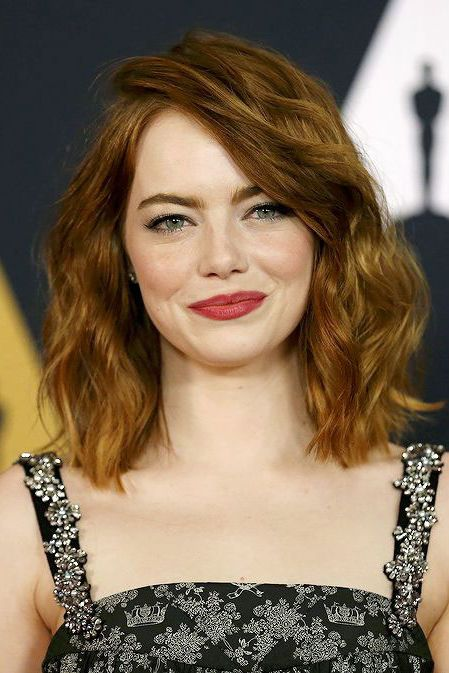 Medium-Length Hairstyles We're Loving Right Now | Emma stone hair .