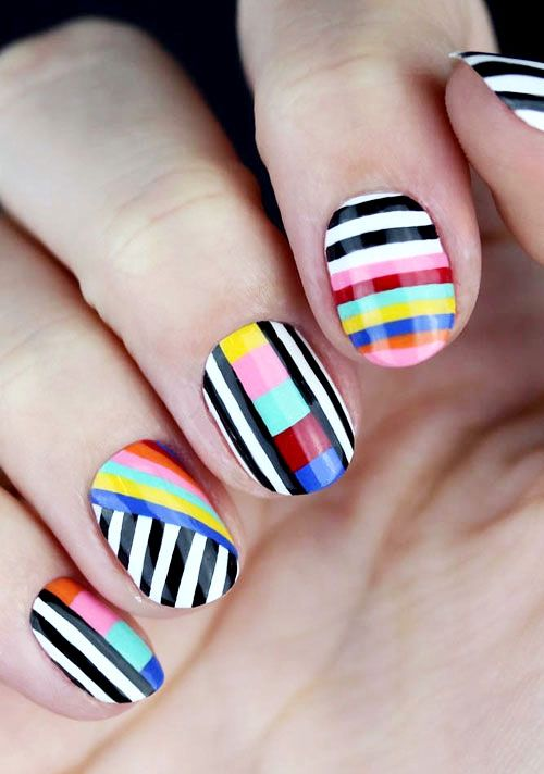 50 Fabulous Nail Designs and Colors for Spring | Striped nails .
