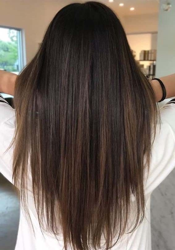 Fabulous Long Straight Hairstyles with Brown Highlights 2018 .
