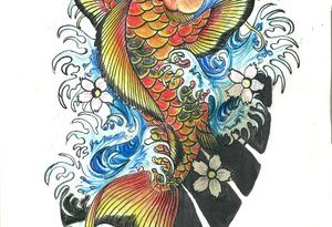 Fantastic Japanese Koi Fish Tattoo Design Sketch