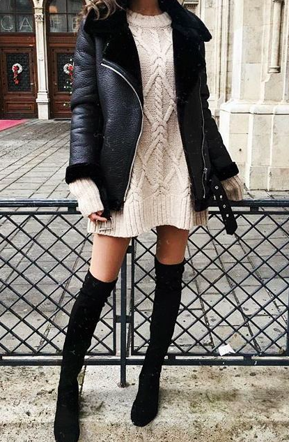 Cable knit sweater dress // over the knee boots // winter black .