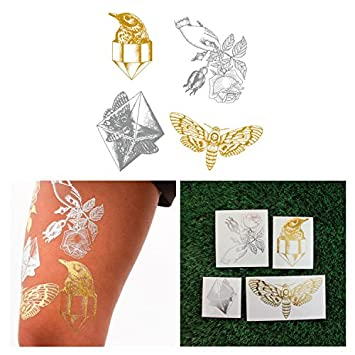 Amazon.com : Tattify Metallic Hand Drawn Nature Temporary Tattoos .