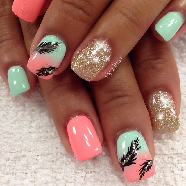 15 Feminine Feather Nail Designs | Feather nails, Feather nail art .