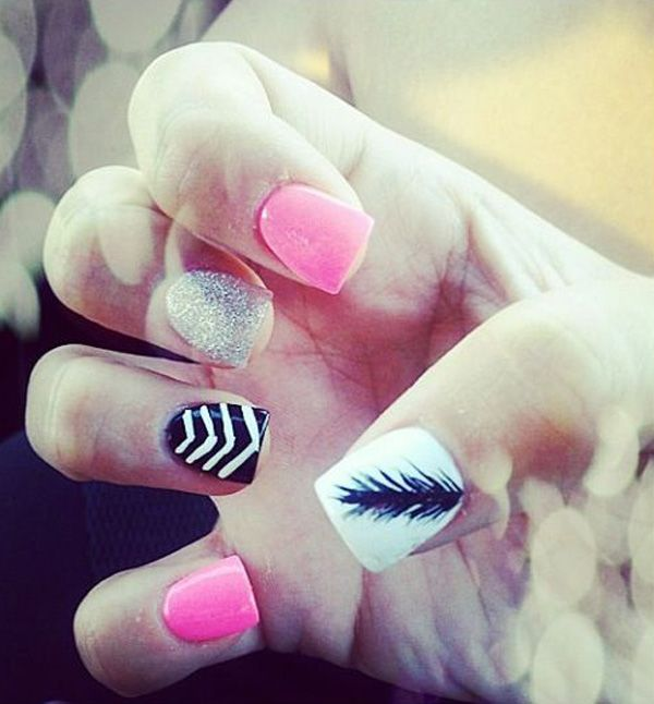 65 lovely Pink Nail Art Ideas | Feather nails, Feather nail .
