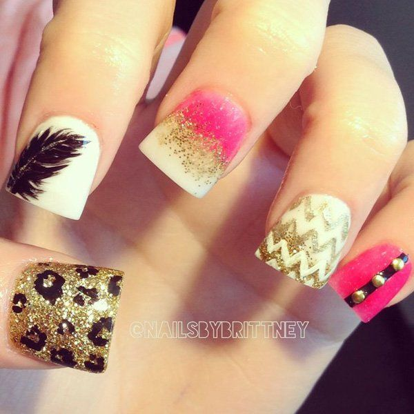 40+ Examples of Feather Nail Art | Feather nails, Cute acrylic .