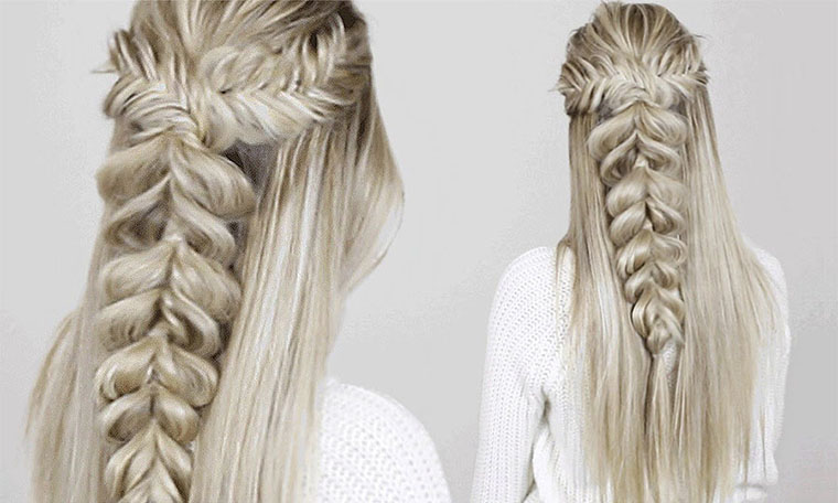 Tutorial of making a fresh fishtail braid hairsty