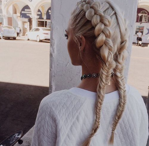 Double Dutch Braids Into Fishtail Braids | Hair styles, Hair .