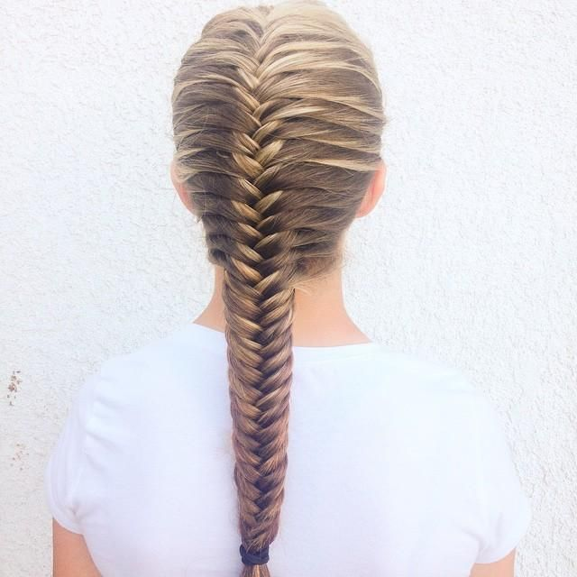 French fishtail … | Fishtail braid hairstyles, Long hair styles .