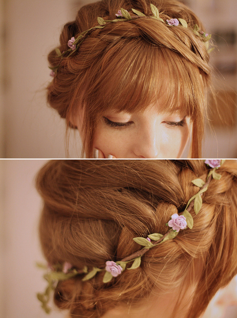 Thin, simple flower crown - you could do a waterfall carousel .