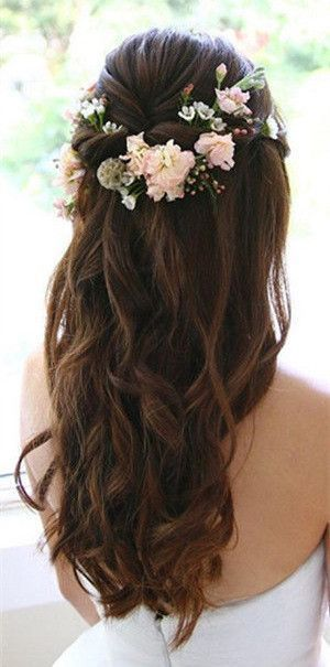 wedding hairstyles | long hair | curly | with flower crown | twist .