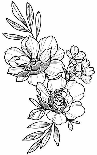 Floral Tattoo Design, Drawing, Beautifu, Simple, Flowers, Body Art .