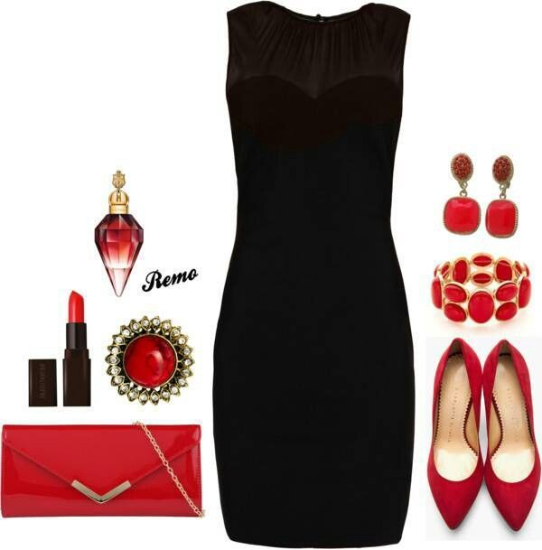 formal black dress colored accessories - Google Search | Black .