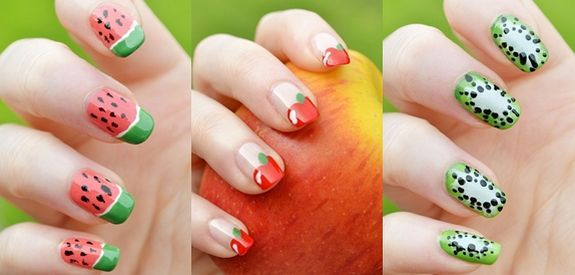 3 ways to paint fruits on your nails. I nail polished watermelon .