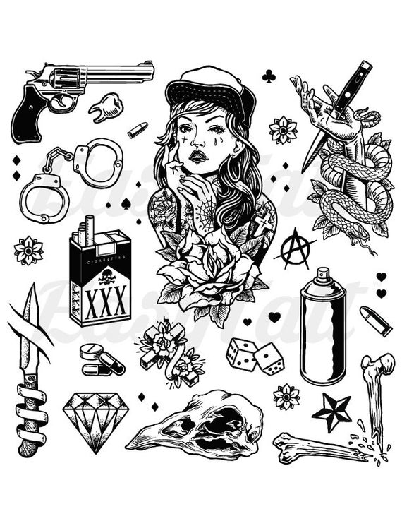 Gangster Temporary Tattoos Thug Temporary Tattoos Gang | Et