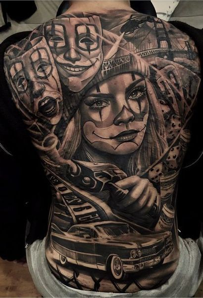 38 Amazing Back Tattoo for Macho Men | Gangster tattoos, Back .