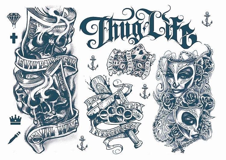 Temporary Tattoos Gangsta Style | Gangsta tattoos, Biker art .