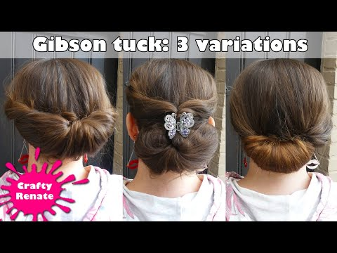 Updo for long hair - Gibson tuck tutorial & variations - YouTu