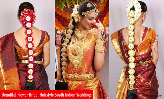 South Indian Bridal Hairstyle with Flowers for Wedding Glamo