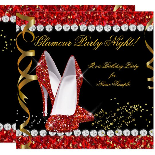Glamour Party Night Red Glitter Gold Black Shoes Invitation .
